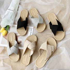 Women's Cross Belt Flat Beach Slippers Nihaostyles Clothing Wholesale NSCRX71307