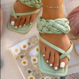 Woven Straps Solid Color Square Toe Sandals Nihaostyles Wholesale Clothing Vendor NSCRX71313