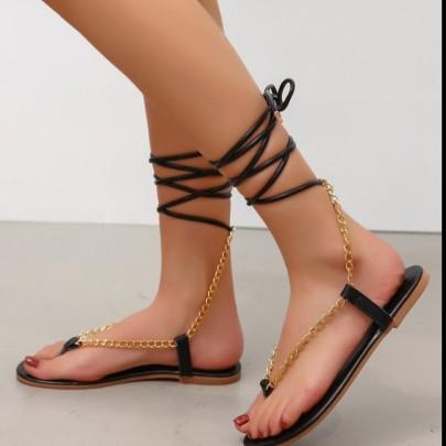 Metal Chain Straps Sandals Nihaostyles Wholesale Clothing Vendor NSCRX71326