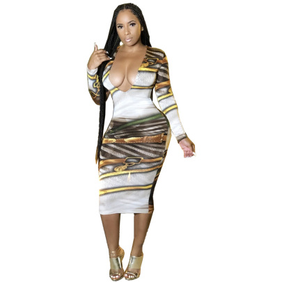 Sexy V Neck Printed Dress Nihaostyles Wholesale Clothing Vendor NSJCF71334