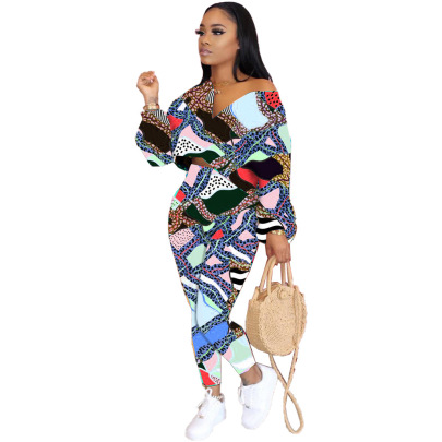 Fashion Leopard Pattern Stitching Multicolor Clothing Two-piece Set Nihaostyles Wholesale Clothing Vendor NSJCF71338