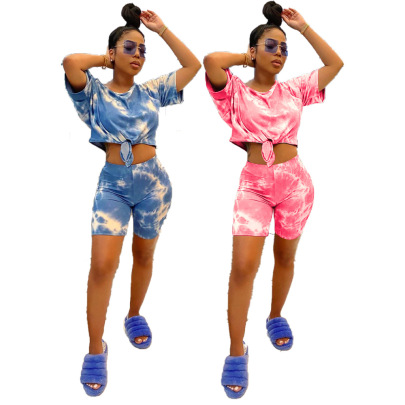 Casual Printed Tie-dye Two-piece Set Nihaostyles Wholesale Clothing Vendor NSJCF71342
