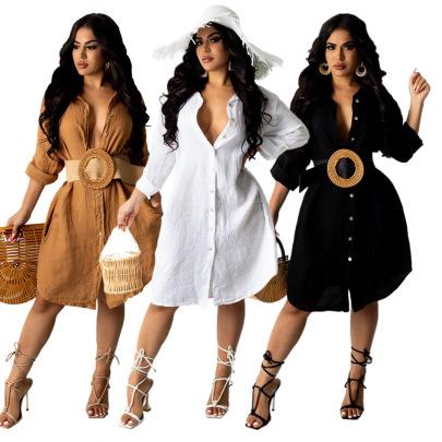 Women's Solid Color Wash Wrinkle Dress Nihaostyles Clothing Wholesale NSXPF71369