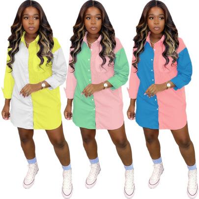 Women's Summer Color-blocking Creative Shirt Dress Nihaostyles Clothing Wholesale NSXPF71374
