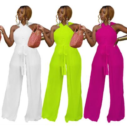 Women's Slim-fit Mesh Lace-up Jumpsuit Nihaostyles Clothing Wholesale NSXPF71378