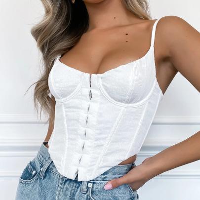 Female Corduroy Sling Slim Short Camisole Nihaostyles Clothing Wholesale NSFLY71406