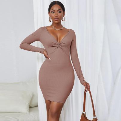 V-neck Twisted Slim Buttocks Long-sleeved Dress Wholesale Nihaostyles Clothing Vendor NSYSQ71413