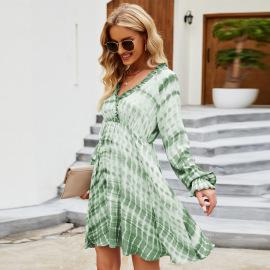 Ruffled Long-sleeved Tie-dye Dress Wholesale Nihaostyles Clothing Vendor NSYSQ71417