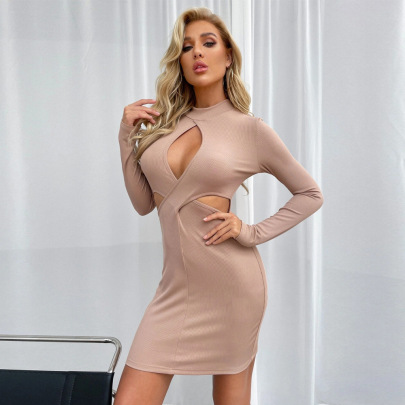 Hollow High-neck Pullover Long-sleeved Dress Wholesale Nihaostyles Clothing Vendor NSYSQ71419