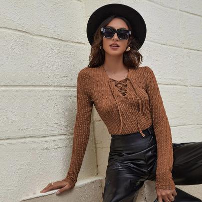 V-neck Straps Slim Long-sleeved T-shirt Twist Knit Top Bottoming Shirt Wholesale Women Clothing Nihaostyles NSYSQ71428