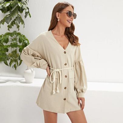 V-neck Single-breasted Belt Long-sleeved Dress Wholesale Women Clothing Nihaostyles NSYSQ71451