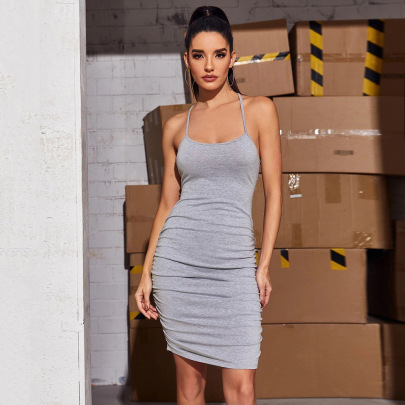 Pleated Slim Solid Color Dress Wholesale Women Clothing Nihaostyles NSYSQ71452
