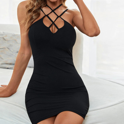 Cross Strap Hollow Knitted Dress Wholesale Women Clothing Nihaostyles NSYSQ71457
