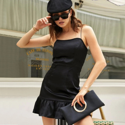 Slim Satin Solid Color Suspender Dress Wholesale Women Clothing Nihaostyles NSYSQ71459