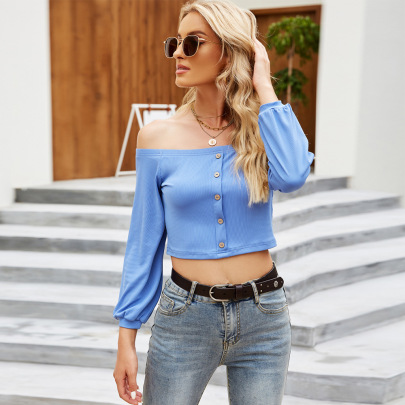 Flat Collar Button Long-sleeved Short Knitted Top Wholesale Women Clothing Nihaostyles NSYSQ71461
