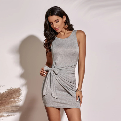 Solid Color Tie Sleeveless Knitted Dress Wholesale Women Clothing Nihaostyles NSYSQ71465