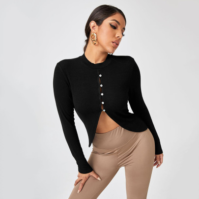 Hollow Button Round Neck Knit Top Wholesale Women Clothing Nihaostyles NSYSQ71470