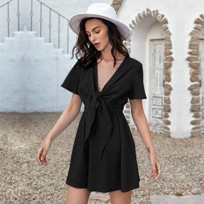 Tie Bow Solid Color Short-sleeved Cotton Dress Wholesale Women Clothing Nihaostyles NSYSQ71472
