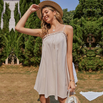 Cotton Sling Dress Ruffled Dress Wholesale Women Clothing Nihaostyles NSYSQ71483