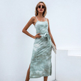 Split Sling Tie-dye Dress Wholesale Women Clothing Nihaostyles NSYSQ71486