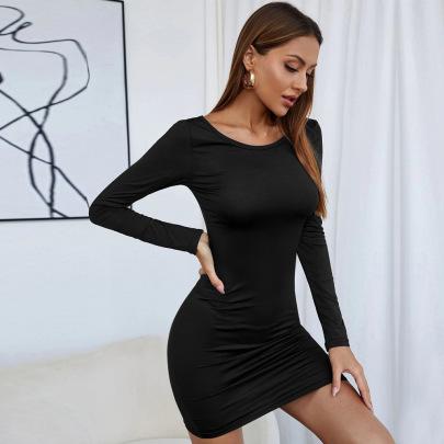 Hollow Slim Knit Long Sleeve Dress Wholesale Women Clothing Nihaostyles NSYSQ71496