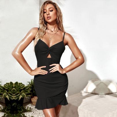 Hollow Twisted Ruffled Mini Sling Dress Wholesale Women Clothing Nihaostyles NSYSQ71517