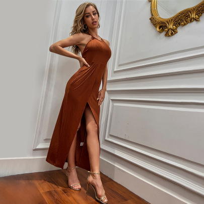 Round Neck Solid Color Self-cultivation Split Knit Dress Wholesale Women Clothing Nihaostyles NSYSQ71536