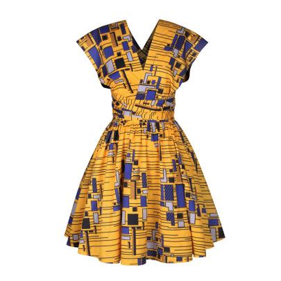 Women's African Style Digital Printing V-neck Dress Nihaostyles Clothing Wholesale NSMDF71155