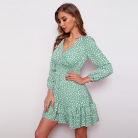 Women's V-neck Floral Long Sleeve Dress Nihaostyles Clothing Wholesale NSXIA75363