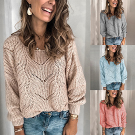 Pure Color Mohair Pullover Openwork Sweater Nihaostyles Wholesale Clothing Vendor NSOUY74989