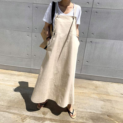 Women's Loose Solid Color Casual Strap Dress Nihaostyles Clothing Wholesale NSXIA75369