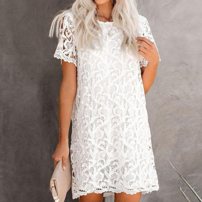 Solid Color Lace Round Neck Short Sleeve Dress Nihaostyles Clothing Wholesale NSXIA75370