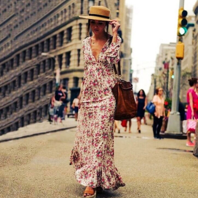 Women's V-neck Printed Long Sleeve Dress Nihaostyles Clothing Wholesale NSXIA75351