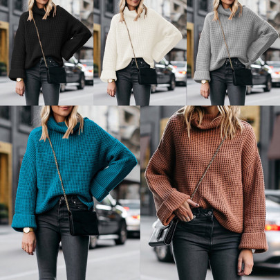 High Neck Loose Sweater Nihaostyles Wholesale Clothing Vendor NSOUY74985