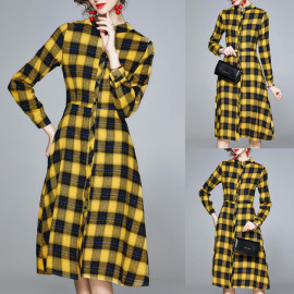 Stand-up Collar Shirt Mid-length Plaid Dress Nihaostyles Wholesale Clothing Vendor NSOUY74977