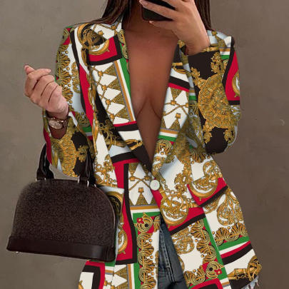 Women's Print Long-sleeved Suit Jacket Nihaostyles Clothing Wholesale NSXIA75338