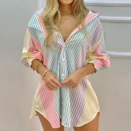 Women's Printed Long-sleeved Lapel Dress Nihaostyles Clothing Wholesale NSXIA75327