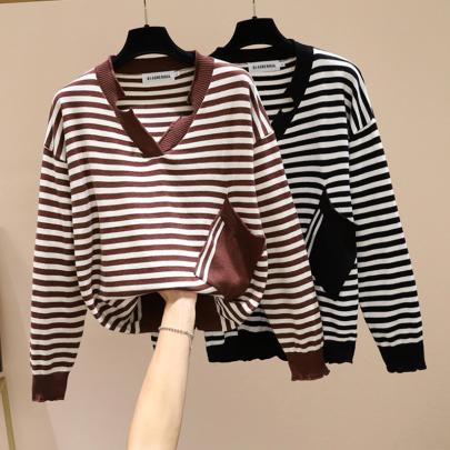 V-neck Stitching Pocket Striped Knit Top Nihaostyles Wholesale Clothing Vendor NSYID74971