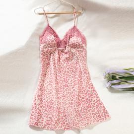 Ice Silk Thin Satin Chiffon Leopard Print Pajamas With Chest Pad Nihaostyles Clothing Wholesale NSYID75326