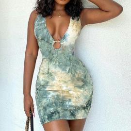 Women's V-neck Hollow Printed Dress Nihaostyles Clothing Wholesale NSYID75325
