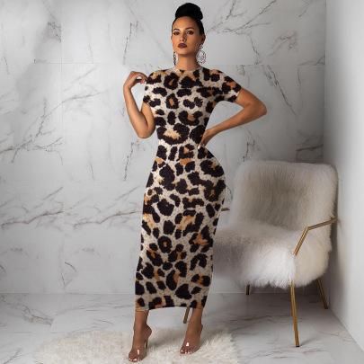 Leopard Printing Short-sleeved Dress Nihaostyles Wholesale Clothing Vendor NSMDJ75037