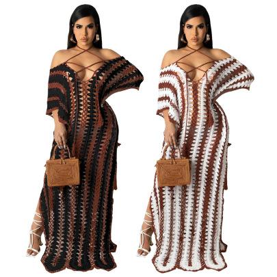 Crochet Strapless Off-the-shoulder Dress Nihaostyles Wholesale Clothing Vendor NSMDJ75047
