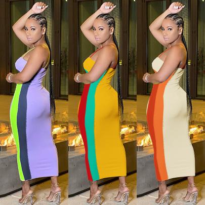 Multi-color Matching Sleeveless Sling Dress Nihaostyles Wholesale Clothing Vendor NSMDJ75058