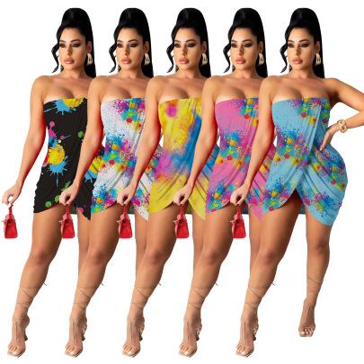Tube Top Print Multicolor Dress Nihaostyles Wholesale Clothing Vendor NSMDJ75059