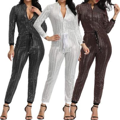Sequins Multi-color Multi-yard Jumpsuit Nihaostyles Wholesale Clothing Vendor NSMDJ75067