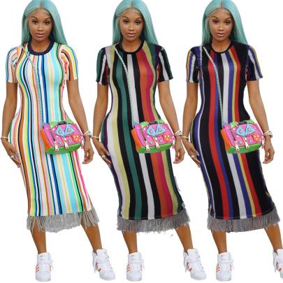 Striped Fringed Short-sleeved Dress Nihaostyles Wholesale Clothing Vendor NSMDJ75101