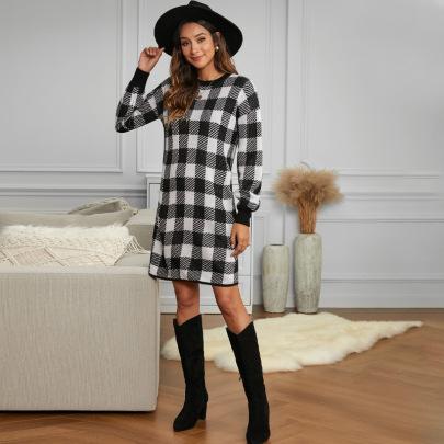 Plaid Lantern Sleeve Round Neck Dress Nihaostyles Clothing Wholesale NSXPF75107