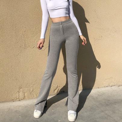 Women's High Waist Solid Color Split Trousers Nihaostyles Clothing Wholesale NSXPF75115