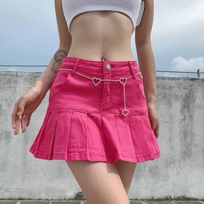Women's Ruffled High Waist Thin Stretch Denim Skirt Nihaostyles Clothing Wholesale NSXPF75120