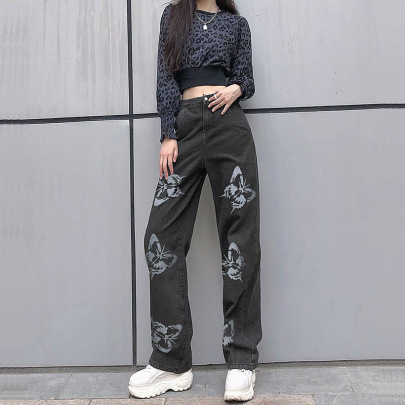 High Waist Thin Butterfly Printed Straight Jeans Nihaostyles Clothing Wholesale NSXPF75137